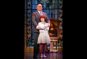 Gilgamesh Taggett as Oliver Warbucks and Issie Swickle as Annie Photo By Joan Marcus